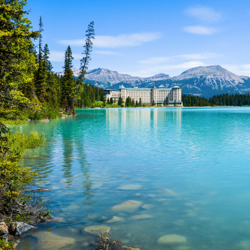 Lake Louise and the Fairmont Chateau Hotel in Canada.