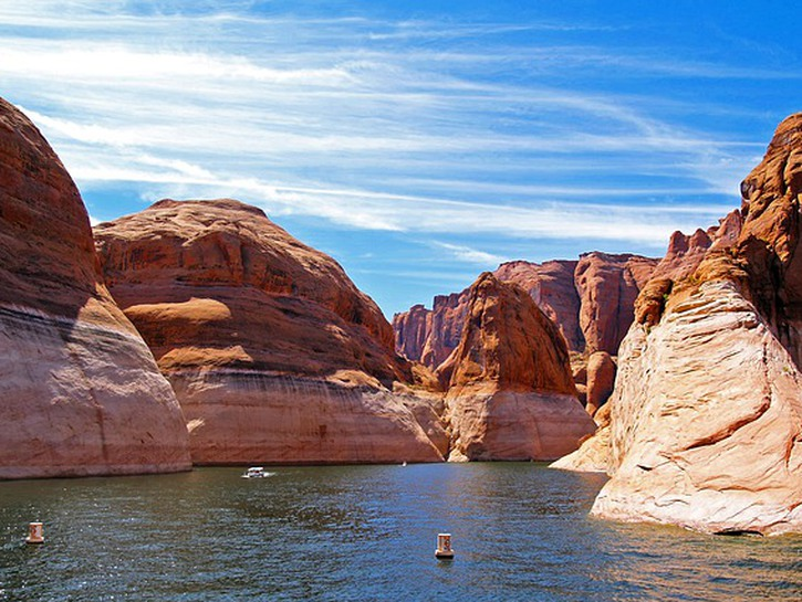 Lake Powell, water and red rock formations