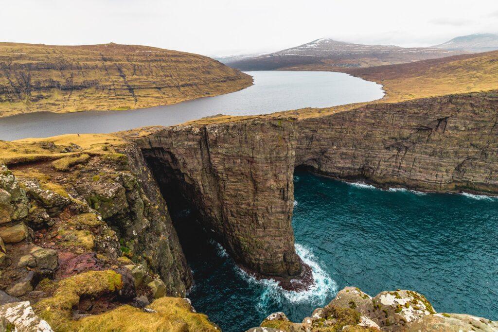 Lake Sorvagsvatn in the Faroe Islands.