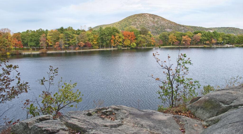 Lake views in Bear Mountain State Park, New York.