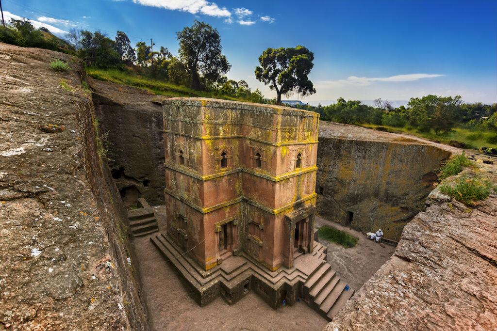 Lalibela stone church in Ethiopia.