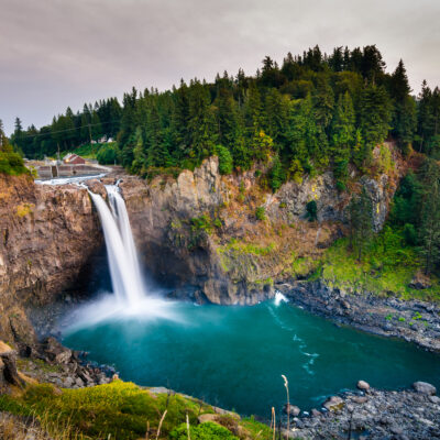 Landscape of Snoqualmie Falls in Washington State.