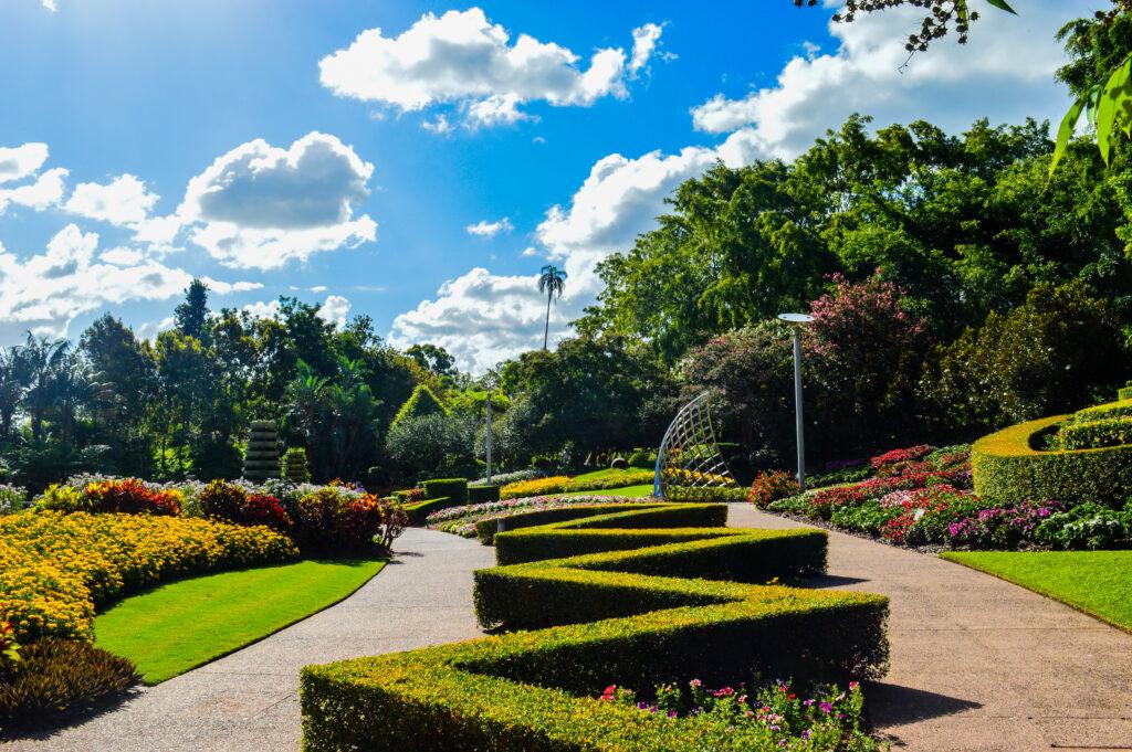 Landscaped walk in Roma Street Parklands, Brisbane, Australia