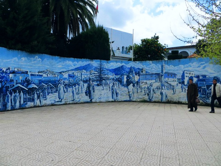 Large mural of Chefchaouen's history, Morocco.