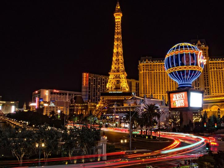 Las Vegas Strip lit up at night