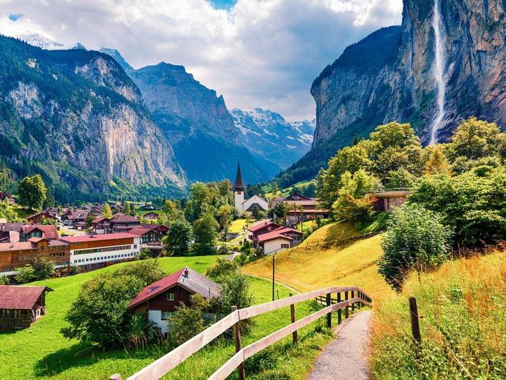 Lauterbrunnen, Switzerland and Staubbach Waterfall