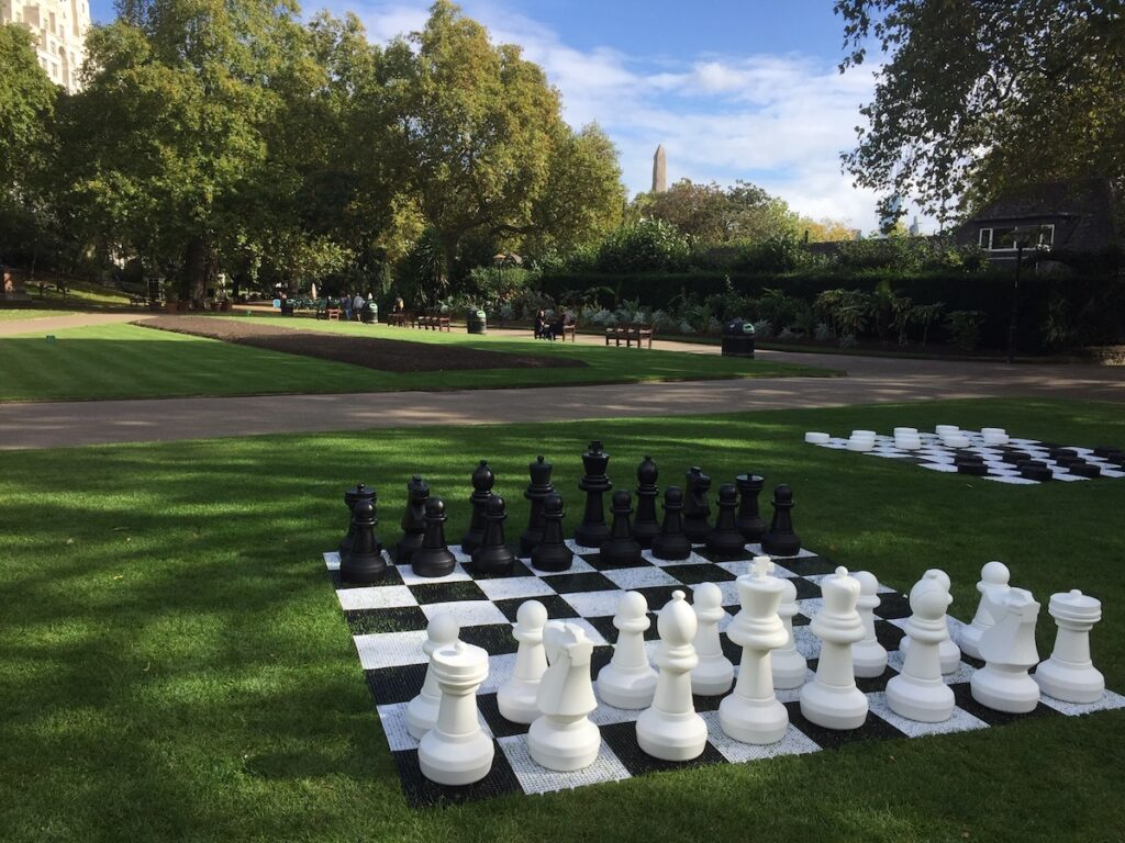 Lawn chess at the Victoria Embankment Gardens.