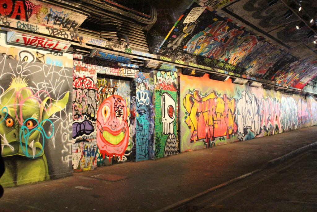 Leake Street Tunnel graffiti art in London