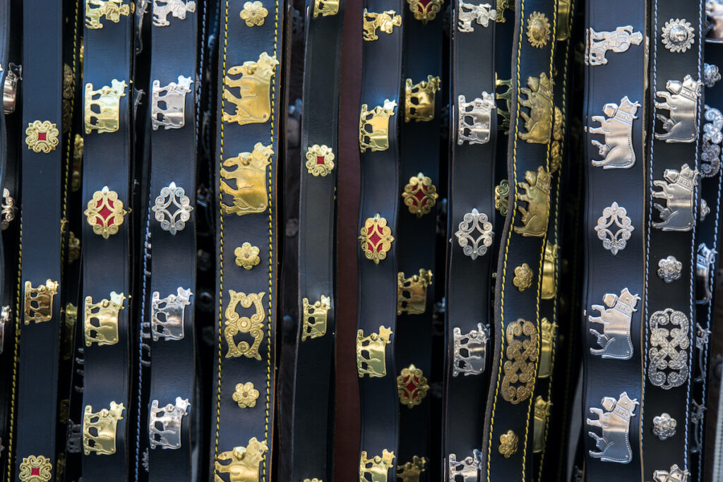 Leather belts for sale in Appenzell, Switzerland.