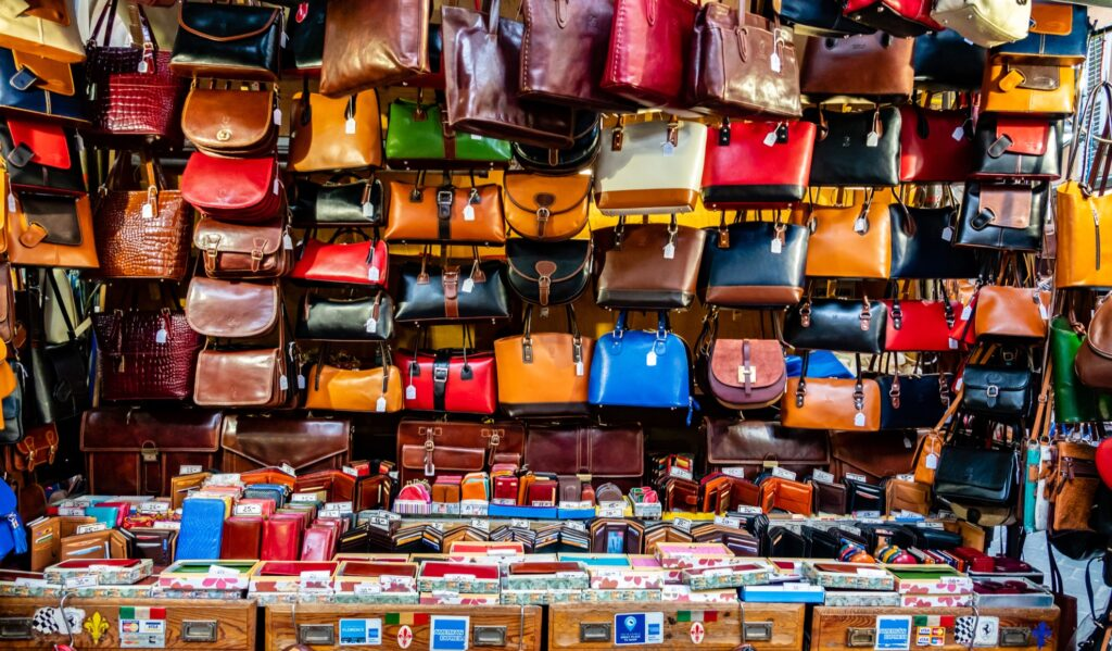 Leather purses for sale in Florence.