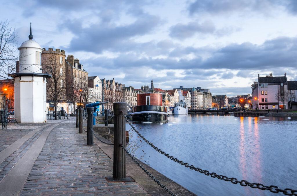 Leith Harbor in Edinburgh, Scotland.