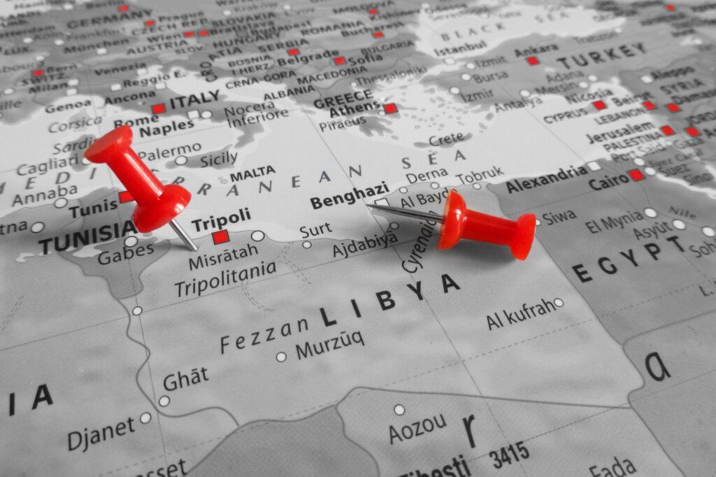 Libya on a map.