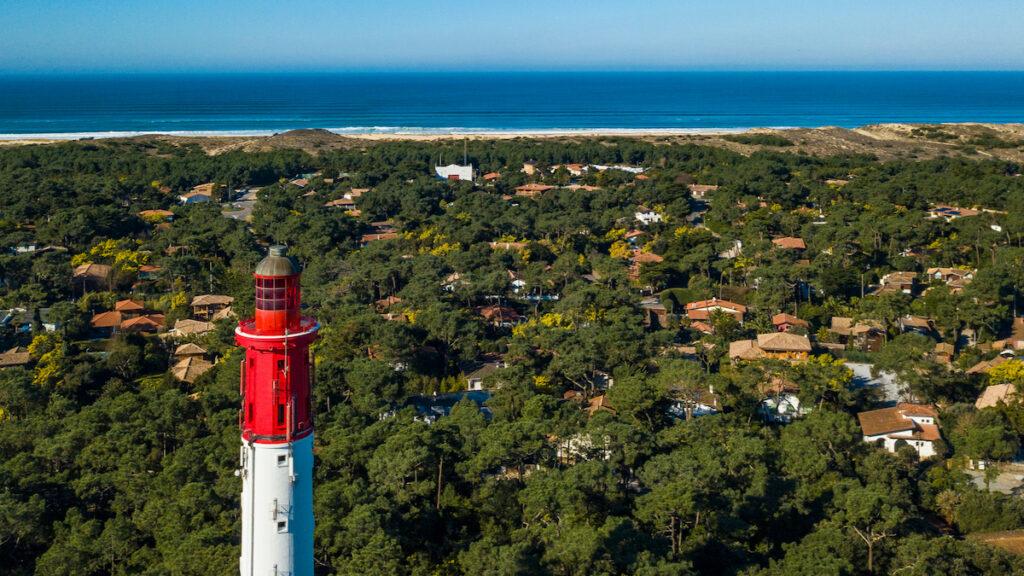 Lighthouse in Cap-Ferret, Arcachon Bay, France.