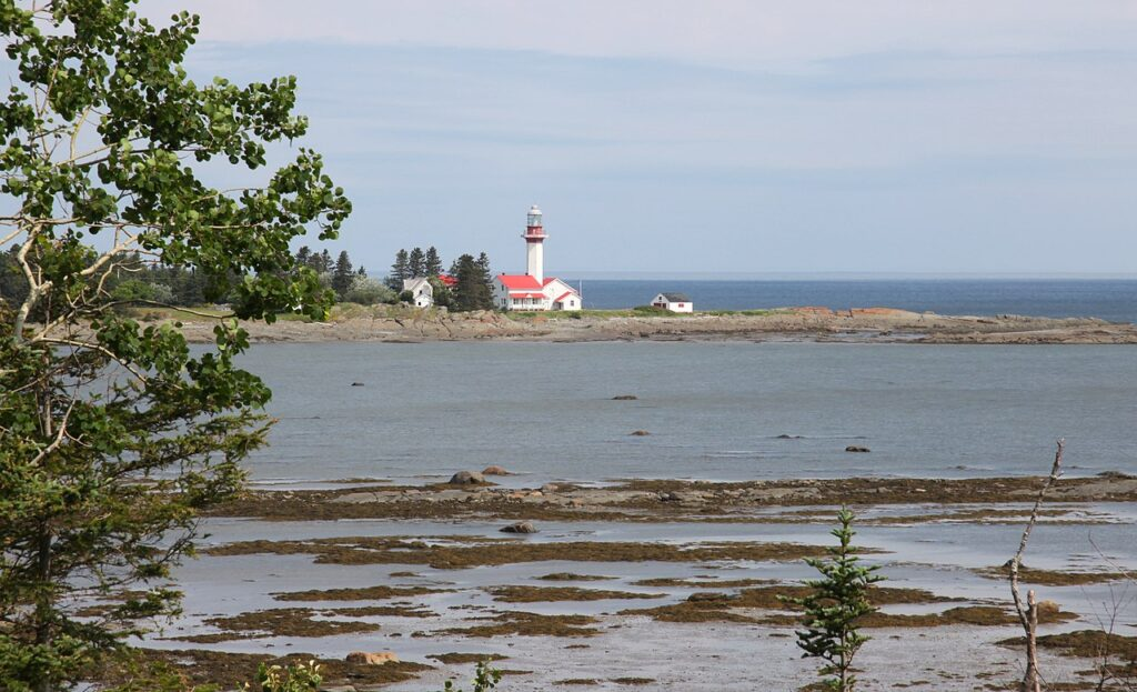 Lighthouse views in Metis-Sur-Mer in Quebec, Canada.