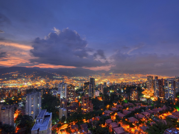 Lights of Medellin, Colombia in the evening