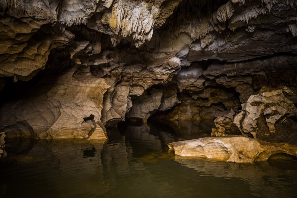 Limestone caves in Belize.