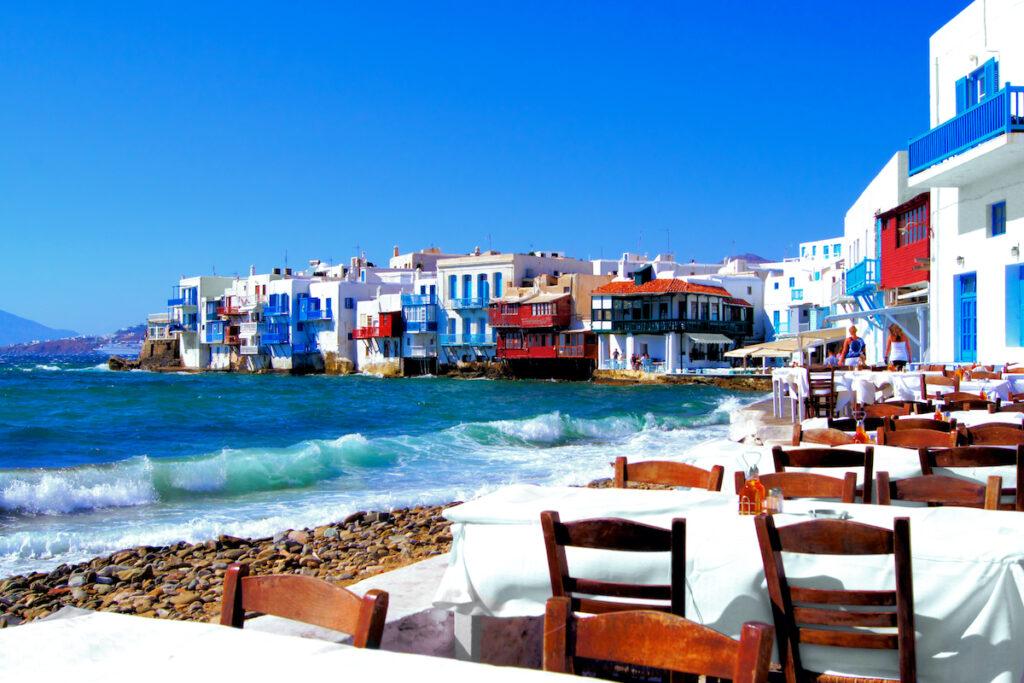 Little Venice coastline, Mykonos, Greece.