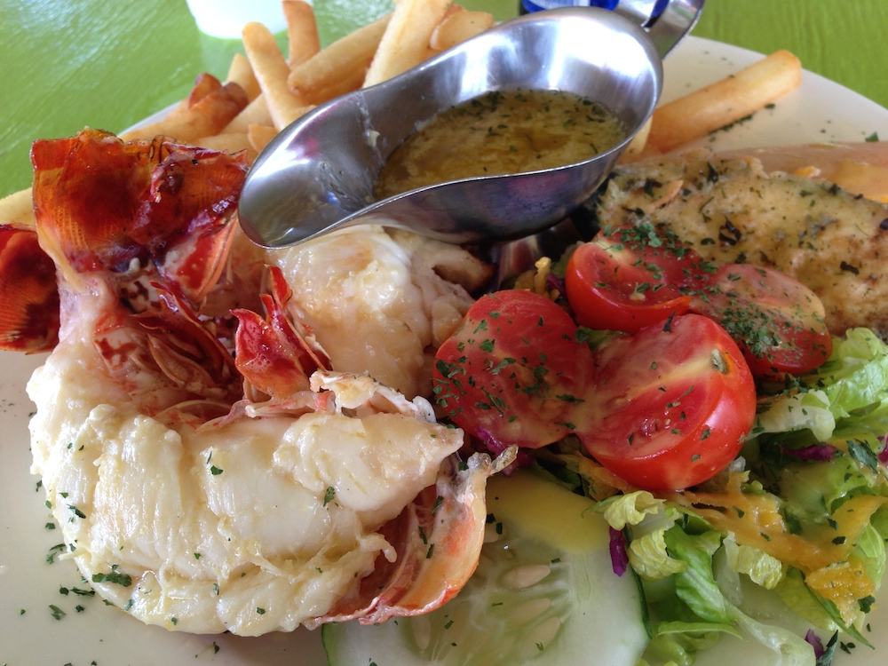 Lobster salad from the Lime Beach Bar on Nevis.