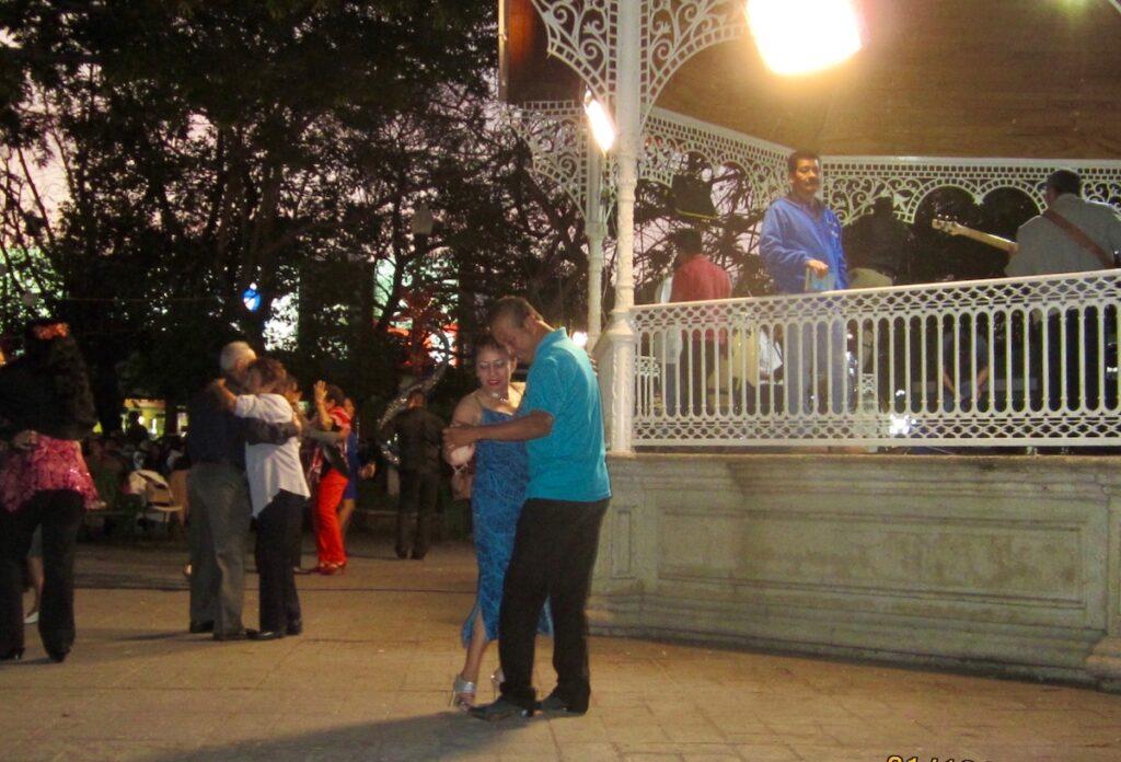 Locals dancing at Marimba Park in Tuxtla, Mexico.