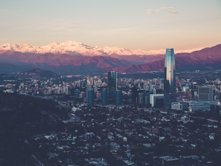 Looking down at Santiago, Chile