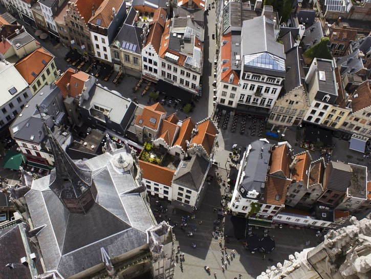 Looking down from the Cathedral of Our Lady, Antwerp Belgium