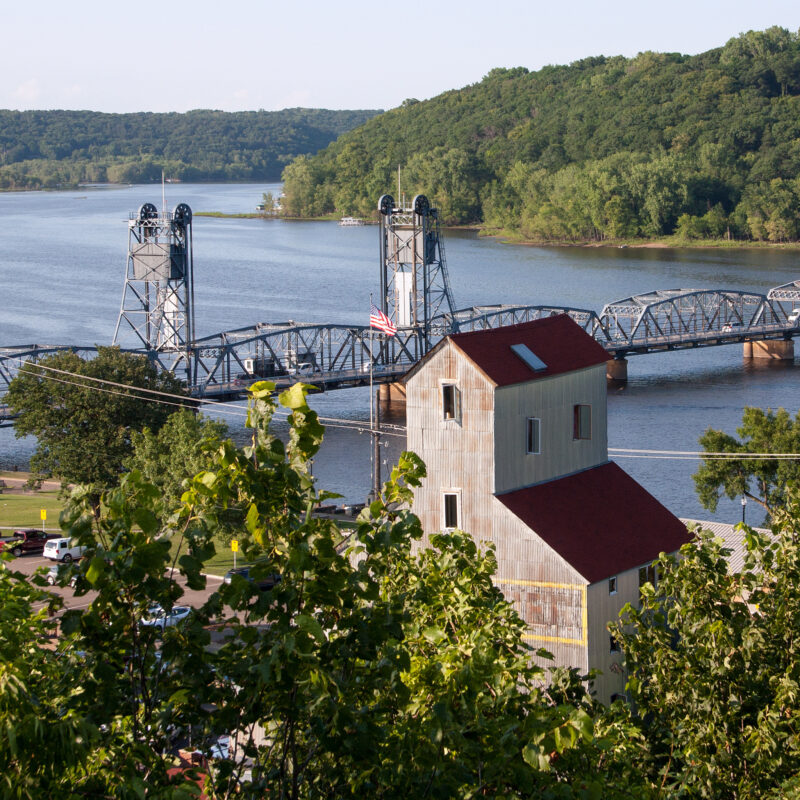 Looking down over the St. Croix River from Stillwater, Minnesota.
