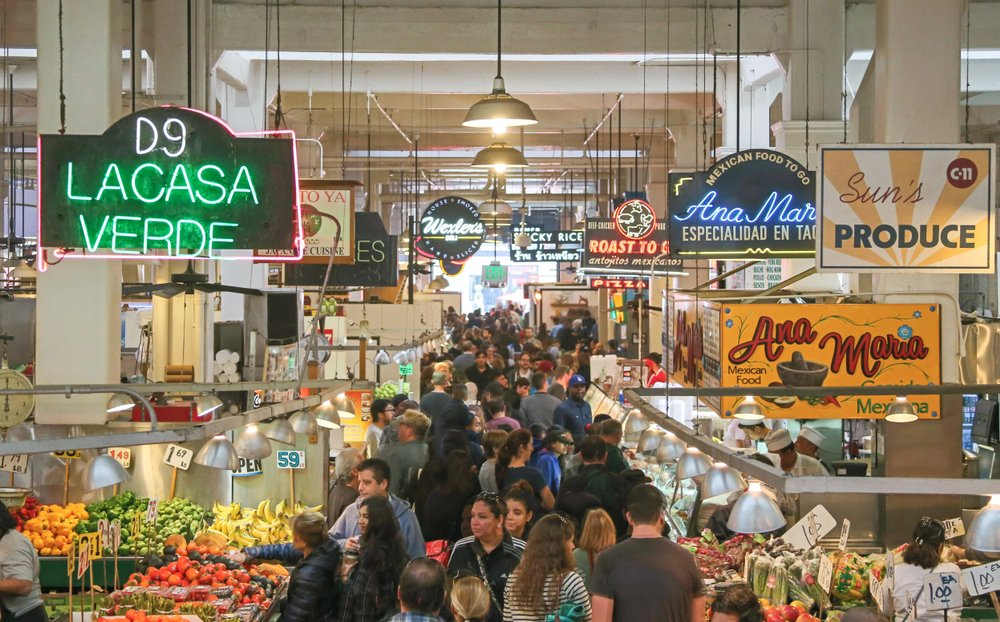 Los Angeles, California: Crowds flock to the Grand Central Market in downtown Los Angeles to shop fo