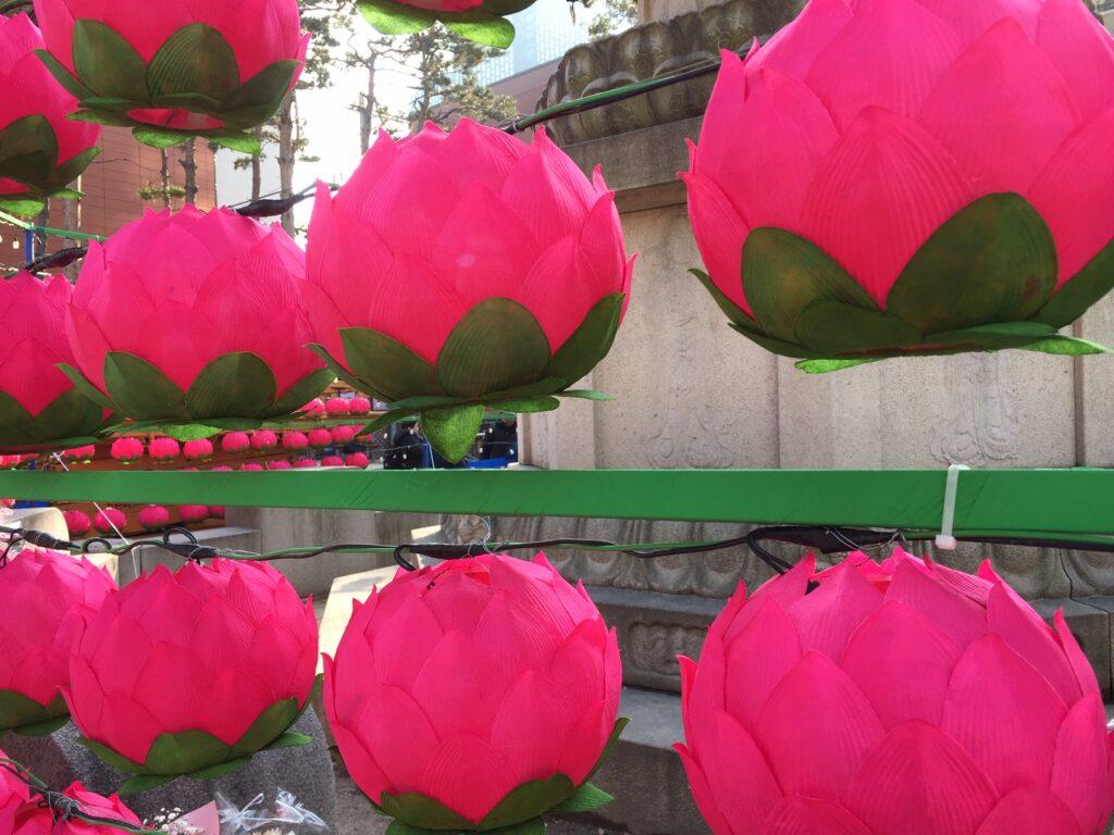 Lotus petal lamps on a street in Seoul.