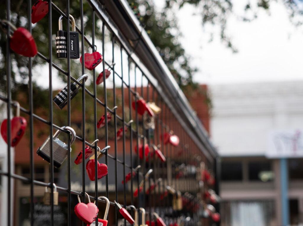 Love locks on display in Waxahachie, Texas.