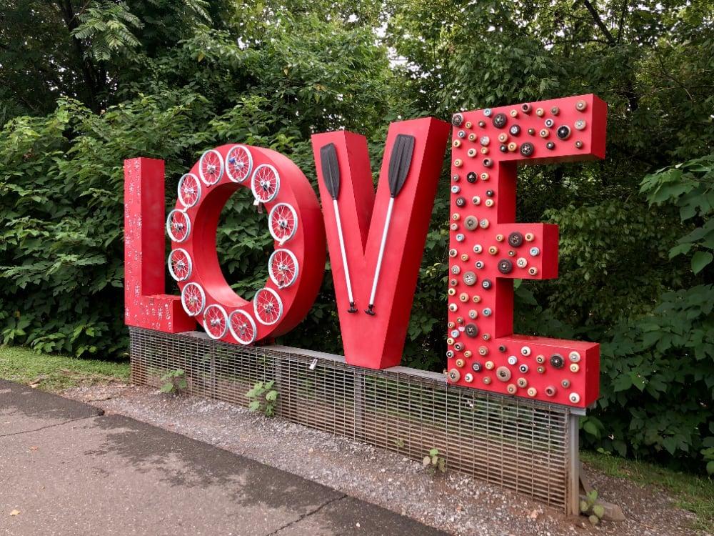 """Love"" signs throughout Lynchburg."
