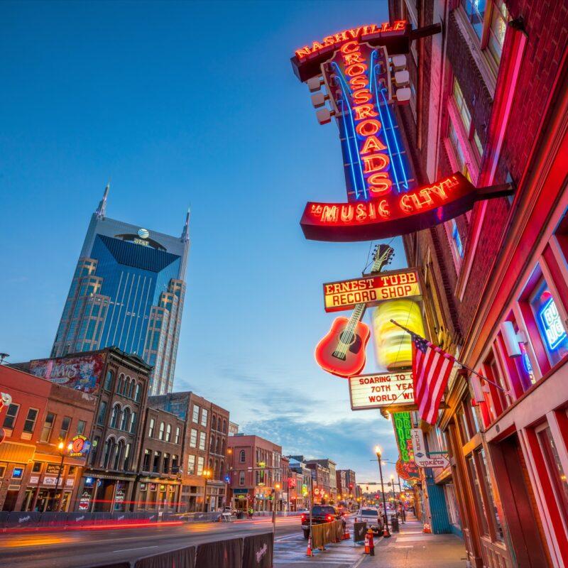 Lower Broadway in downtown Nashville.
