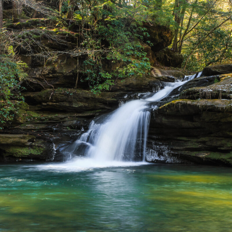 Lower Caney Creek Falls in Bankhead National Forest, Alabama.