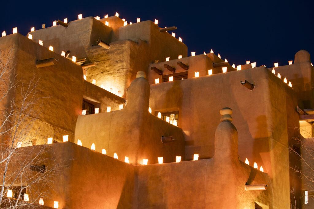 Luminarias in Santa Fe during the holidays.
