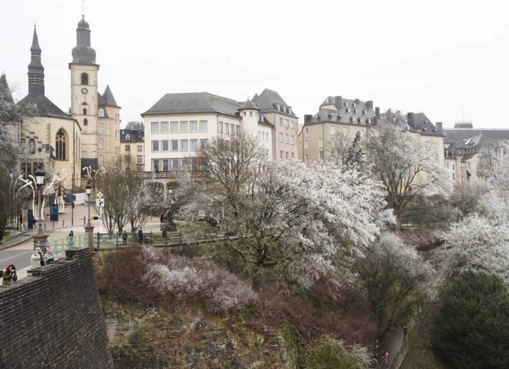 Luxembourg City, dusted with snow.