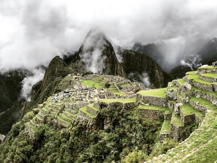 Machu Picchu on a cloudy day.