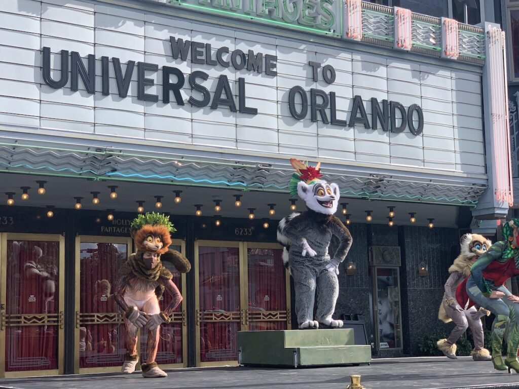 Madagascar characters at Universal's Holiday Experience.