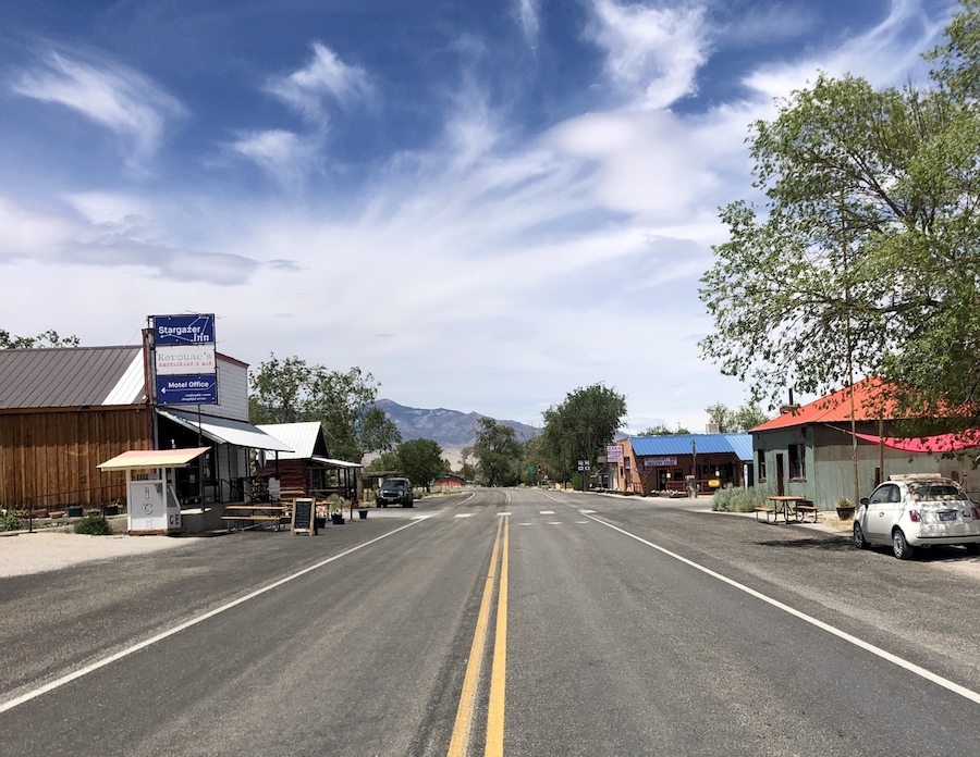 Main street in Baker, Nevada.