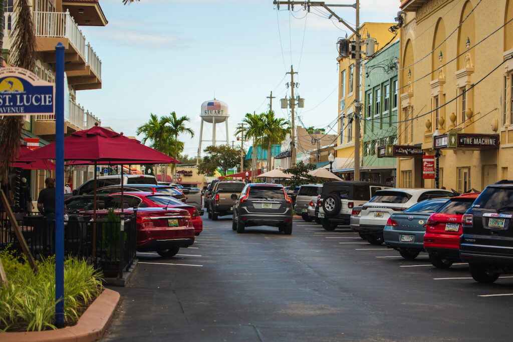 Main street in the quaint town of Stuart, Florida.