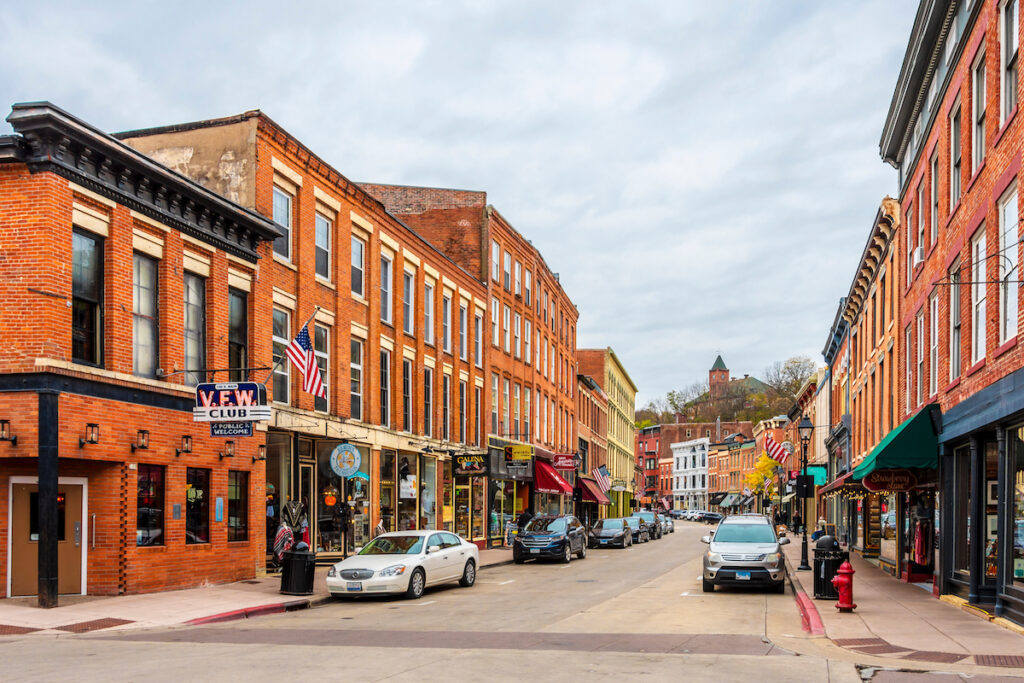 Main Street in the town of Galena, Illinois.