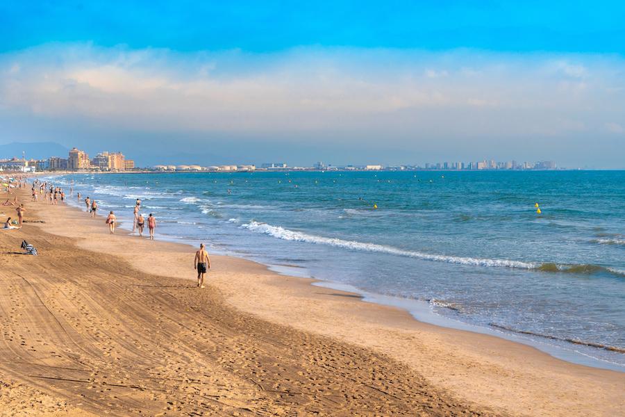 Malvarossa beach in Valencia, Spain.