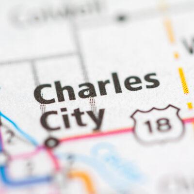 Map of Charles City, Iowa.