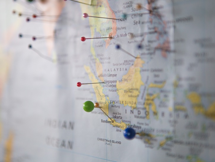 map of indonesia with pins in it