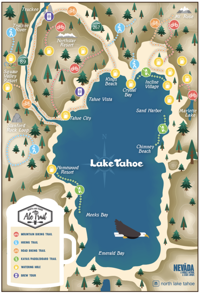 Map of the North Lake Tahoe Ale Trail.