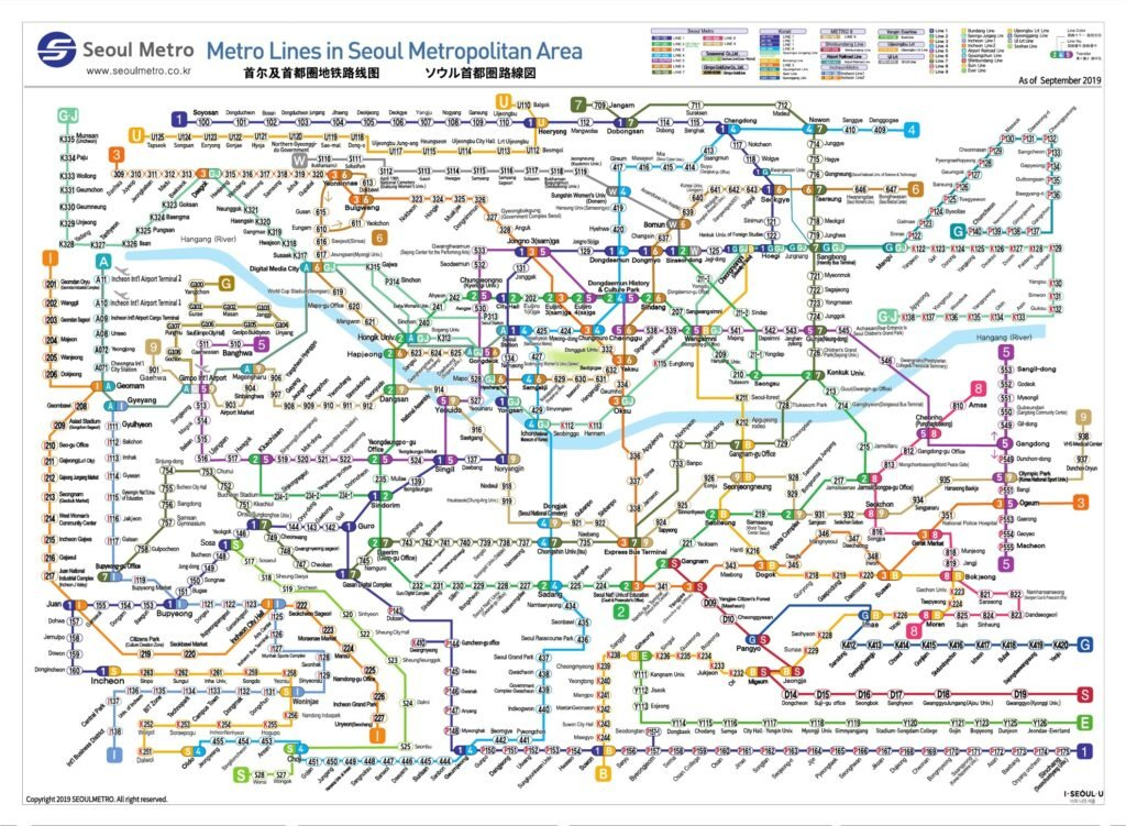 Map of the Seoul Metro lines.