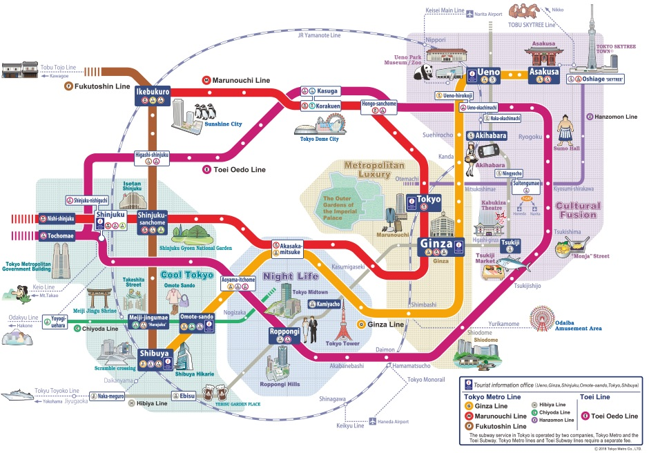 Map of the Tokyo Metro.