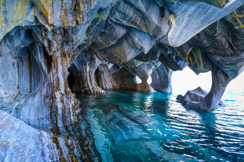 Marble Caves on General Carrera Lake in Patagonia, Chile.