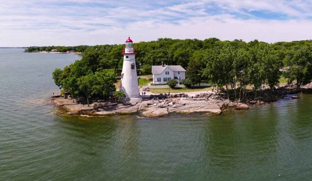 Marblehead Lighthouse on the shore of Lake Erie.
