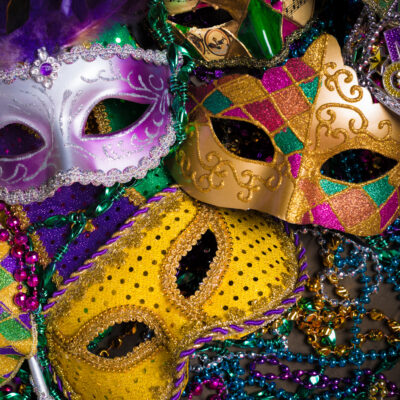 Mardi Gras masks and beads.