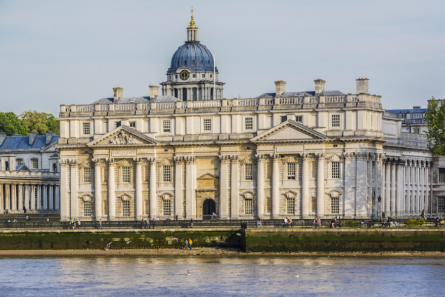 Maritime Greenwich as seen from the River Thames.