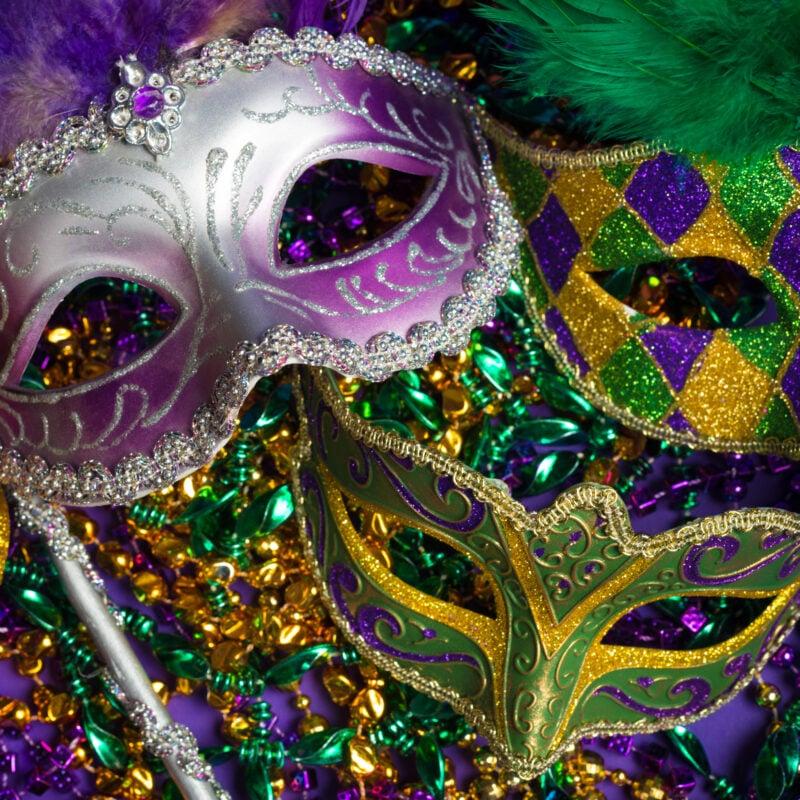 Masks and beads to celebrate Mardi Gras.